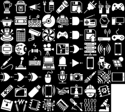 Electronic device icons montage