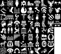 Ancient Greece & Roman Empire icons montage