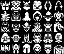 Medieval fantasy characters icons montage